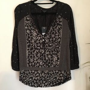 NWT Lucky Brand Puffy Sleeves Peasant BOHO Blouse